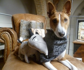 Anubis, the Barkless Dog, with her Frankenweenie toy (photo courtesy of Anubis' mum)